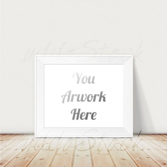 0090a6ce845 Landscape White Frame on Wood Mockup for Wall Art by UddoStock ...