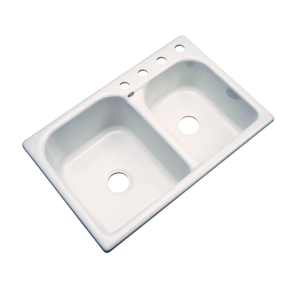 Cambridge Drop-In Acrylic 33 in. 4-Hole Double Bowl Kitchen Sink in ...