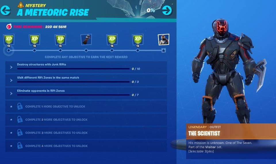 Fortnites Meteoric Rise Challenges For Scientist Skin The