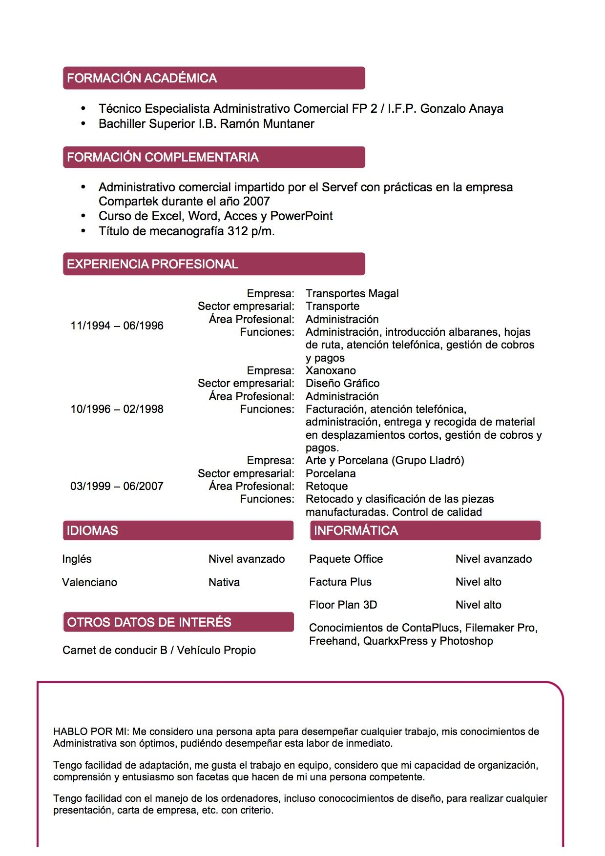 Currículum Vitae Modelo Vino Tienda De Curriculum | Cosas para ...