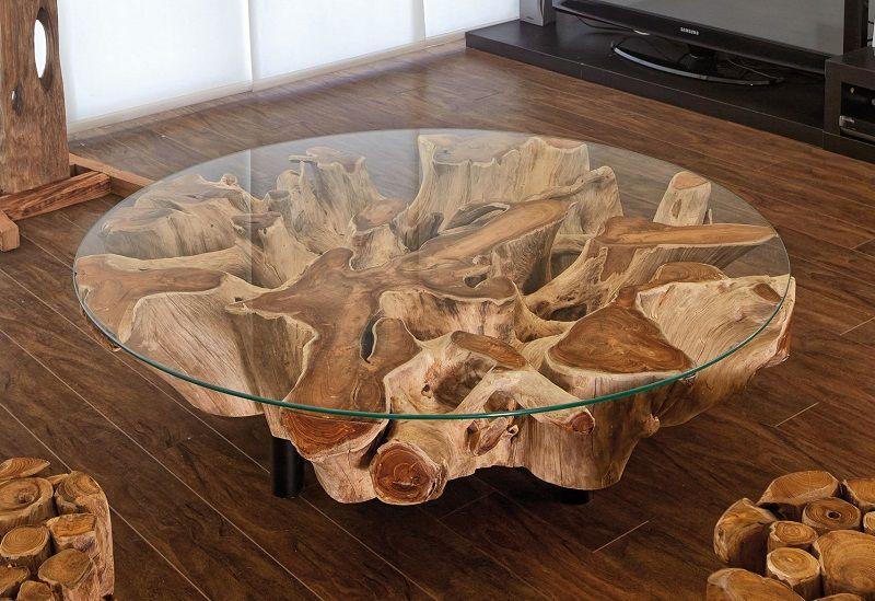 Mesa de centro con troncos de madera muebles rusticos for Mesa tronco