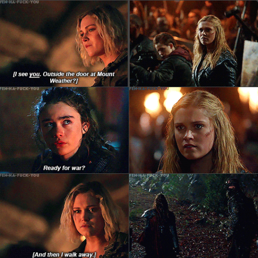 Lexa basically telling Clarke to not do the same thing as