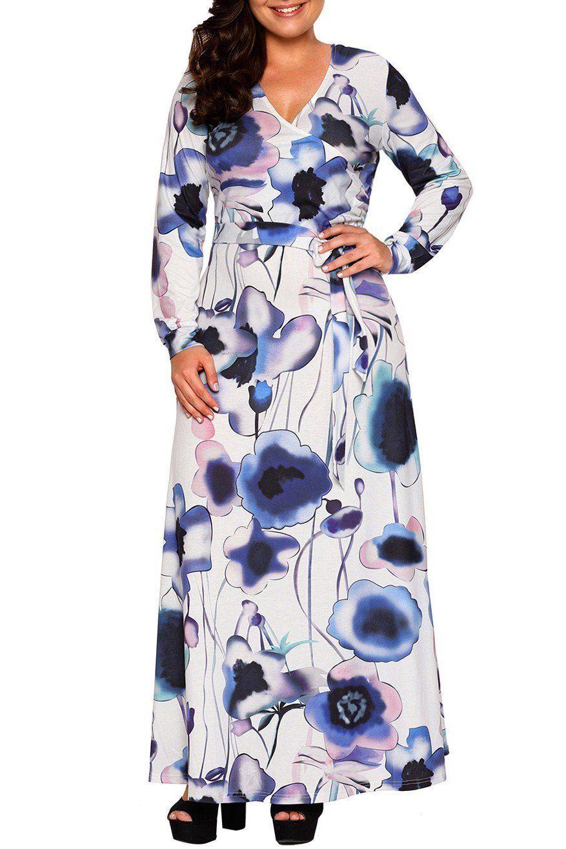 Navy Purple Floral Print Sash Tie Long Sleeve Plus Size Maxi Dress ... 08a2f405d