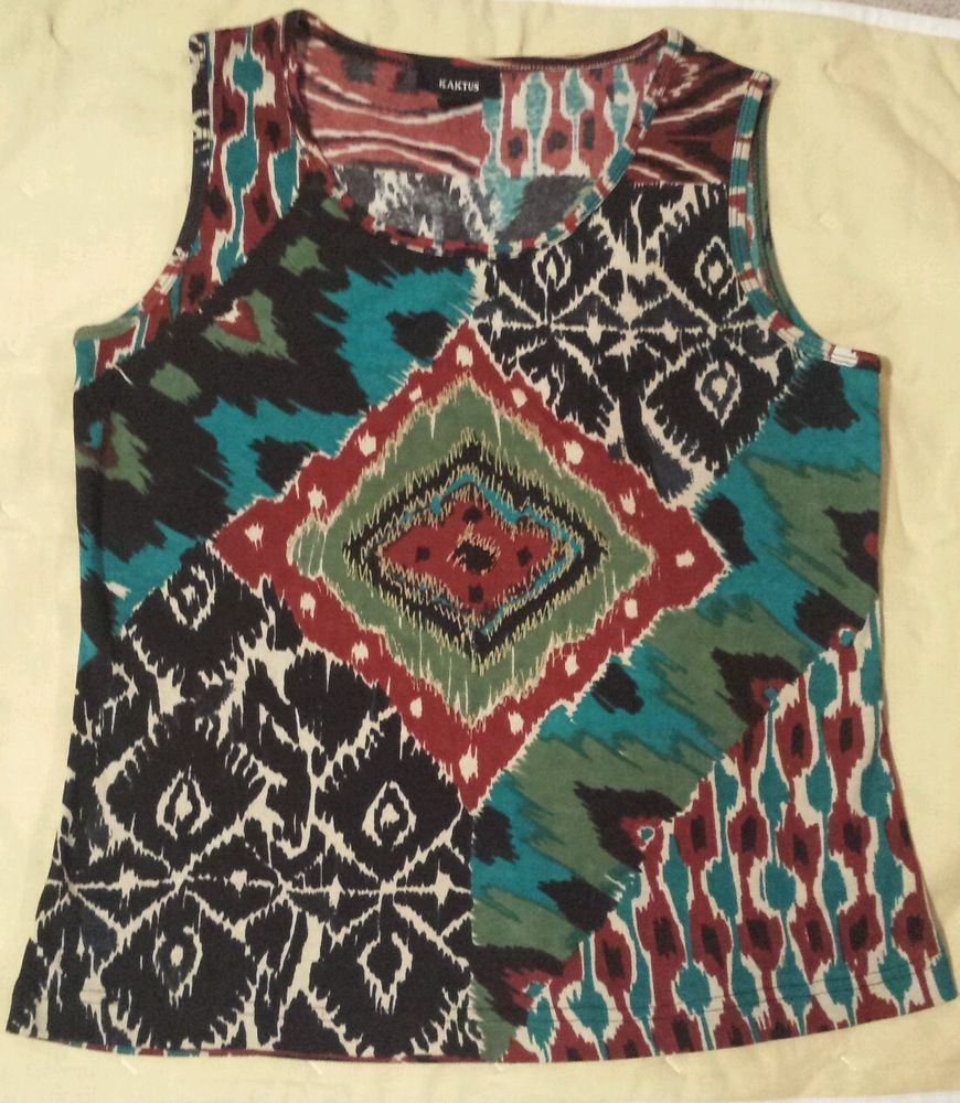 KAKTUS Knit Tank Top M Cotton Native American pattern Teal Multicolor  #Kaktus #TankCami #Casual