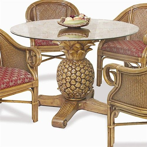 Ocean Reef Pineapple Table With Glass Toppelican Reef  Baers Fair Wicker Dining Room Sets Review