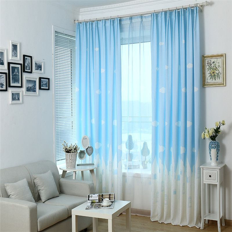 Kids Bedroom Curtains Captivating Blue  Pink Cartoon Castle Shade Blinds Window Blackout Curtains Inspiration Design