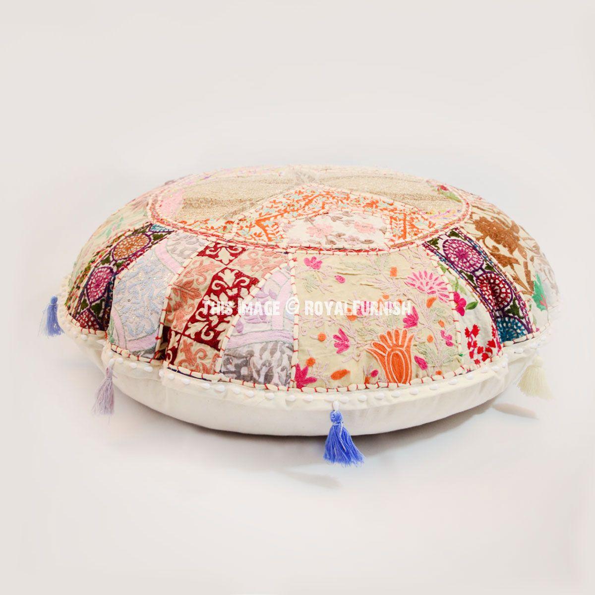 Giant White Multi Bohemian Handmade Round Floor Pillow
