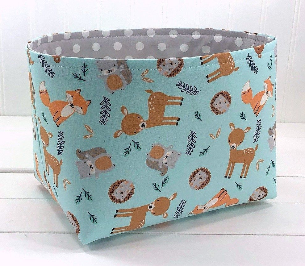 Woodland Nursery Storage Basket, Fabric Storage Bin, Toy