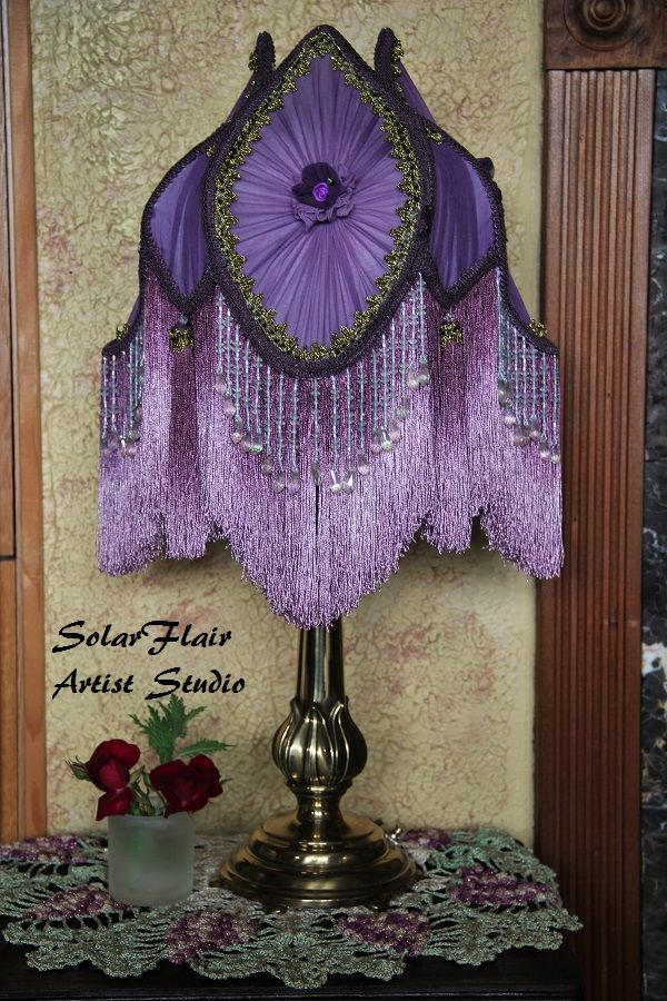 Purple Victorian Style Tulip Lamp Shade. Two Shades Of Purple With Fringe  And Beads,