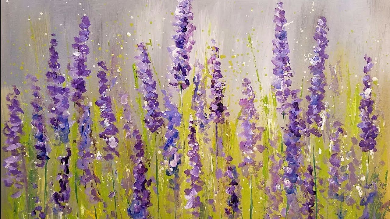 Video By Angela Anderson Learn How To Paint A Simple Impressionist Floral Abstract With Acrylics Th Lavender Paint Simple Acrylic Paintings Beginner Painting