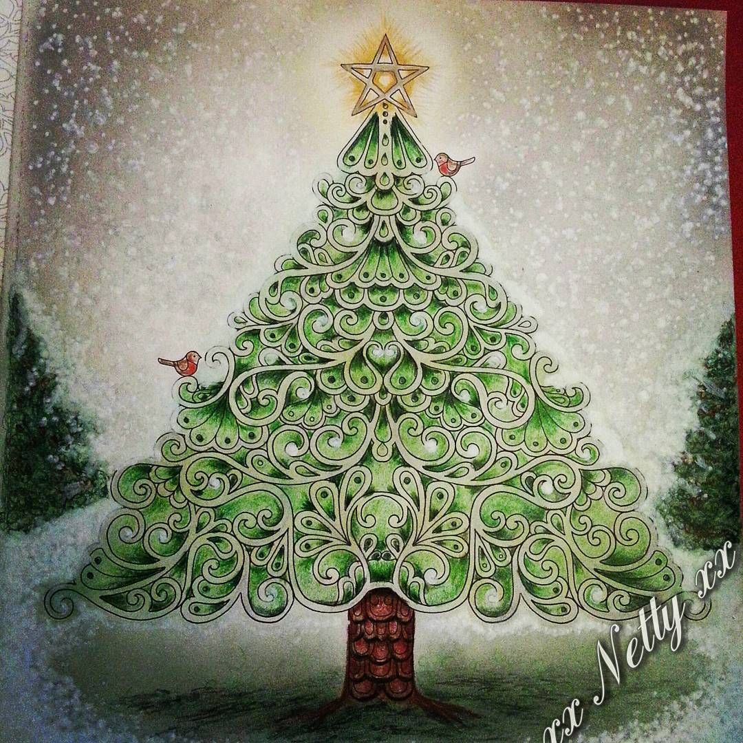 Johannas Christmas Coloring Book Tree With A Golden Star On Top And Robin Birds