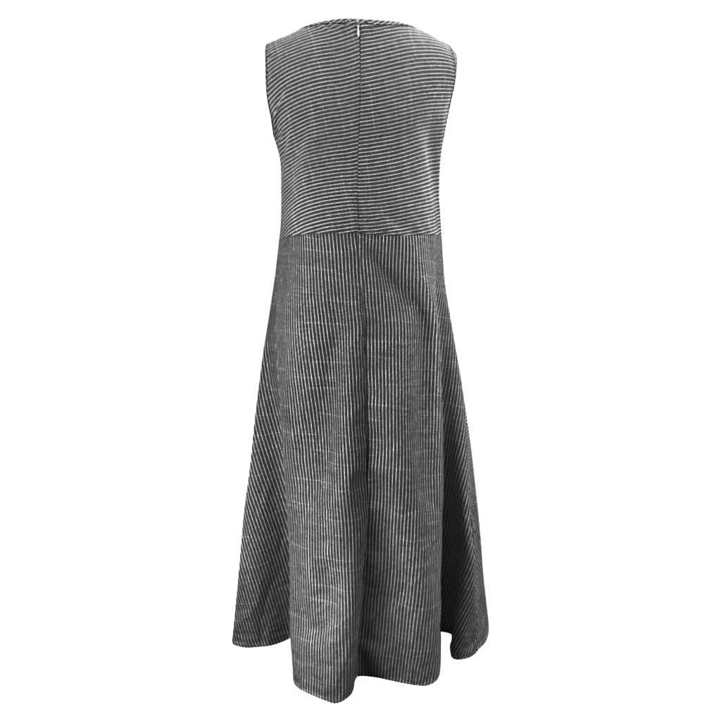 Striped Dresses Crew Neck Shift Daily Vintage Midi Casual Loose Pockets Sleeveless Dress #blacksleevelessdress