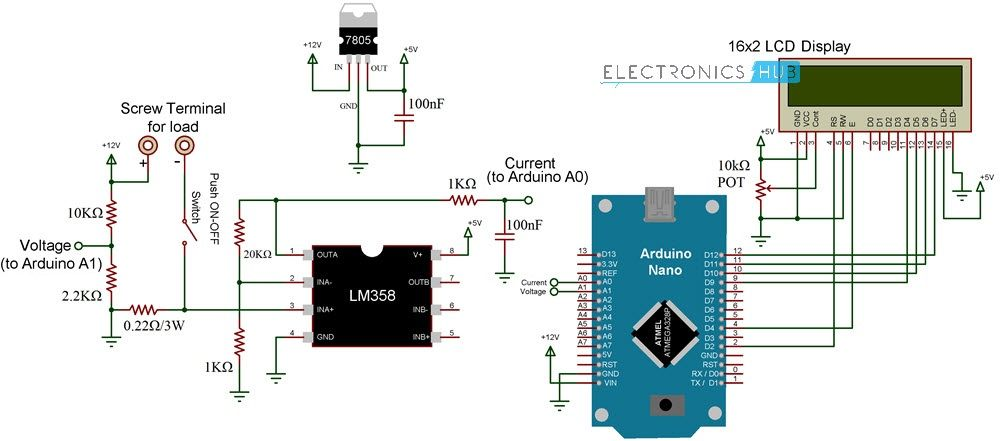 Arduino Wattmeter Voltage Current And Power Measurement Arduino Circuit Diagram Electronics Circuit