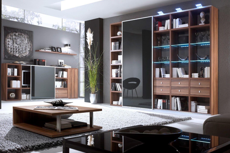 Wandkast op maat in houtfineer met hoogglans schuifpanelen en ...