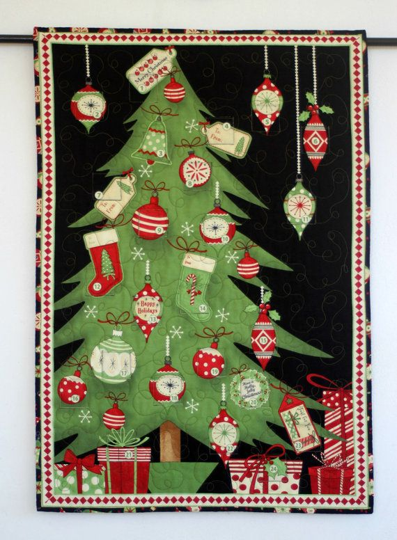 Quilted Advent Calendar Christmas Tree Wall Hanging Etsy Christmas Quilts Holiday Quilts Quilted Wall Hangings
