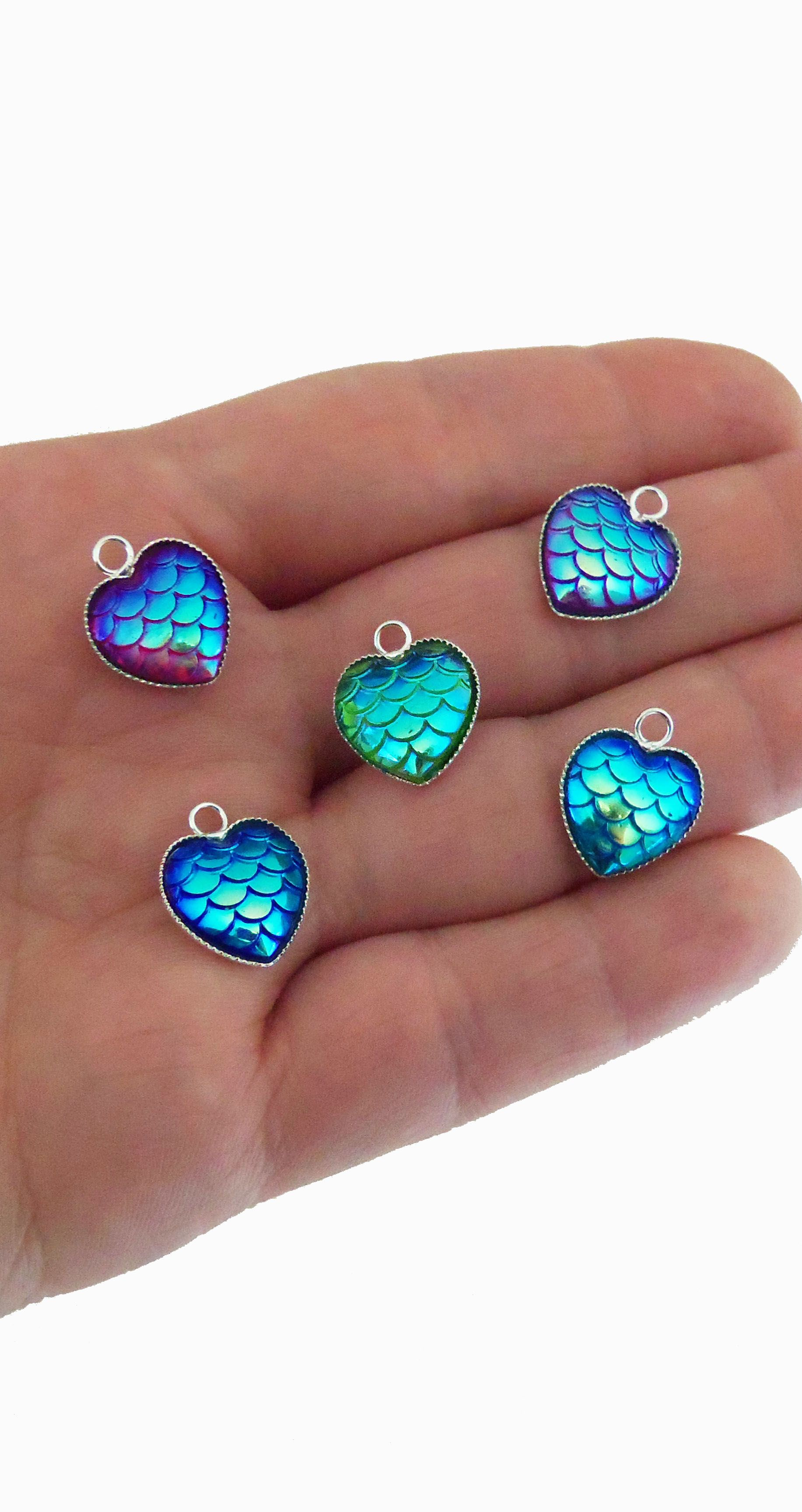 heart shaped mermaid scale charms, mermaid scales in shimmery blue ...