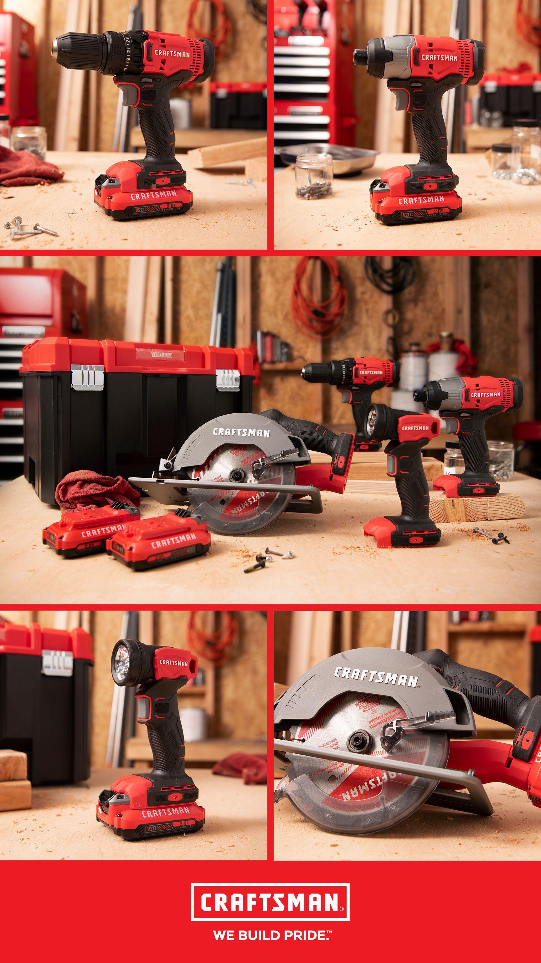 V20 Cordless Versastack 4 Tool Combo Kit Cmckvs401d2 Craftsman Woodworking Jobs Combo Kit Woodworking Square