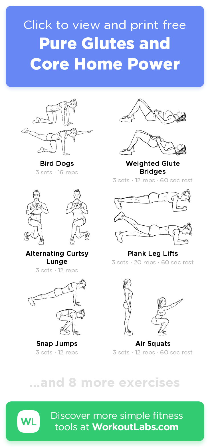 Pure Glutes And Core Home Power Click To View And Print This Illustrated Exercise Plan Created With Work Workout Labs Workout Programs Home Exercise Program