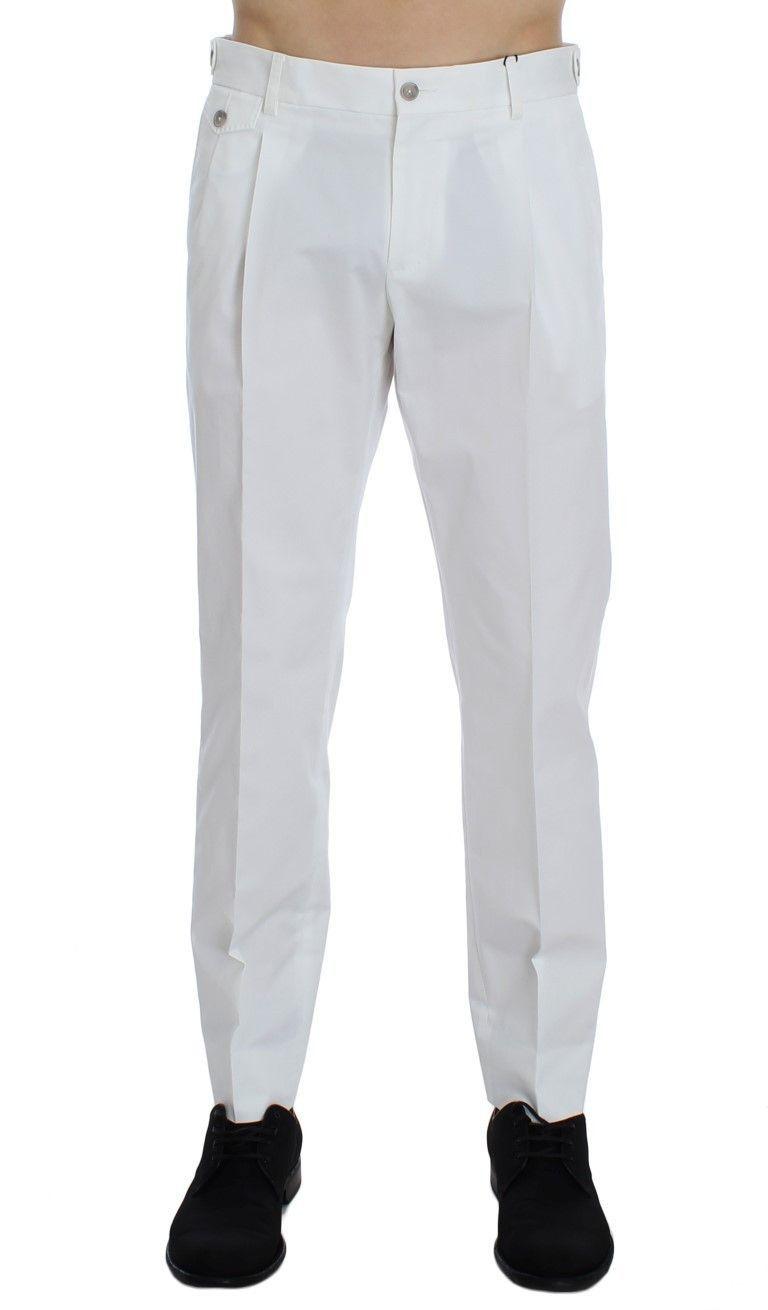White Cotton Stretch Chinos Pants