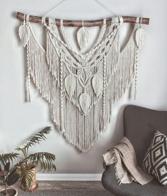 Large Macrame Backdrop, Extra large Macrame Wall decor with feather, Home and Living, Boho wall decor, Gift for home, living room wall decorThis beautiful macrame wall hanging is a unique masterpiece. Will be great hanging wall decor for any room or patio.This macrame backdrop will also be perfect for a wedding arch or boho wedding photo zone.Made of 100 eco-materials (cotton, wood).Will be an exclusive decoration for your home, no matter where you place it. The wall hanging will make your bedro