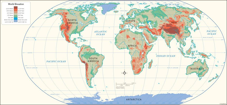 Topographical elevation world map ecology conservation descubre ideas sobre ciencias ambientales topographical elevation world map gumiabroncs Image collections