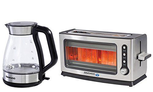 Mp Essentials Stainess Steel Illuminated Aqua Gl Kettle 2 Bread Slice Toaster Set