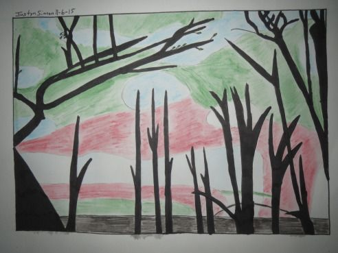"Justyn's ""In Your Style"" ~ Sunrise Challenge ~ drawing / Sunrise silhouette trees"