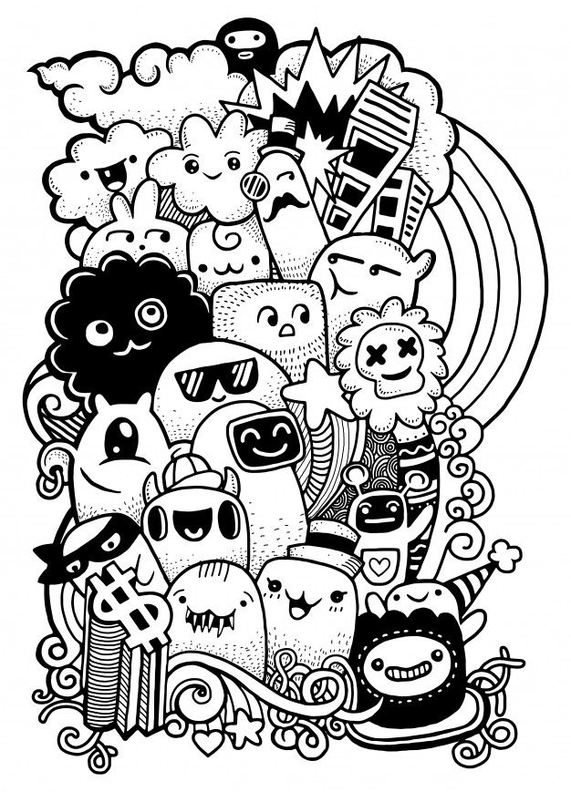 Hipster Mao Desenhada Louco Doodle Monstro Grupo Estilo De