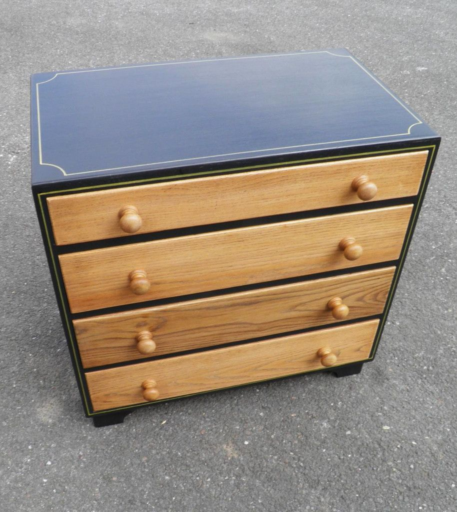 Vintage Oak Chest With Graphite And Gold Paintwork (SALE SALE SALE)