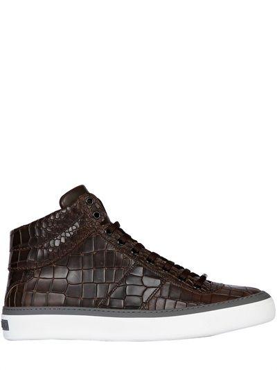 jimmy choo croc embossed leather high top sneakers