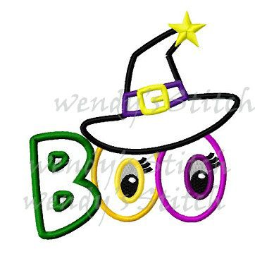 Hey, I found this really awesome Etsy listing at https://www.etsy.com/listing/161780041/halloween-boo-witch-hat-applique-machine