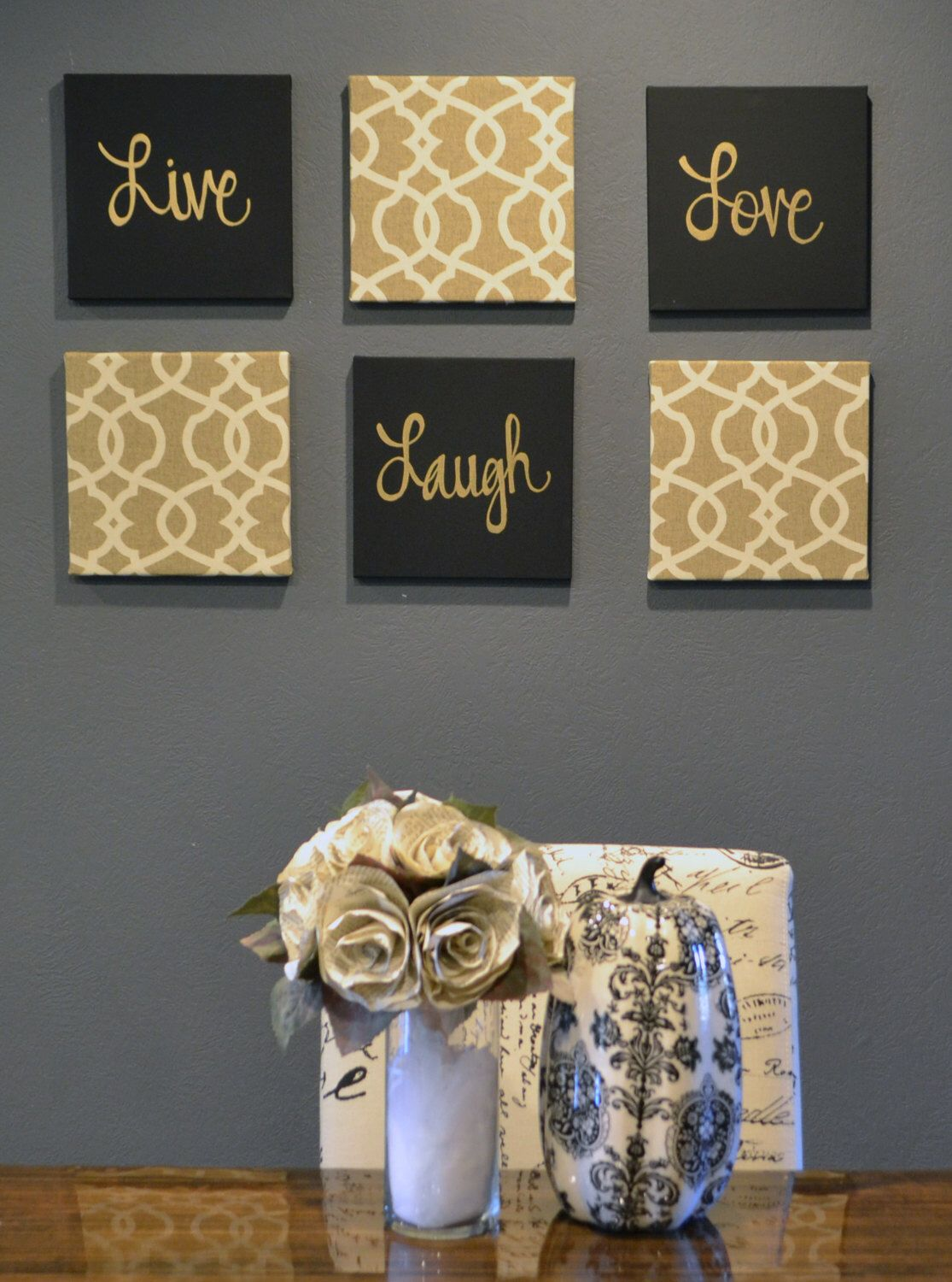 Hey i found this really awesome etsy listing at httpsetsy live laugh love wall art pack of 6 canvas wall hangings painting fabric upholstered large living room decor modern chic beige black gold amipublicfo Image collections