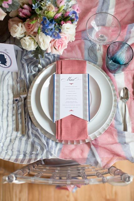Pink And Blue Americana Inspired Table Decor Place Settings