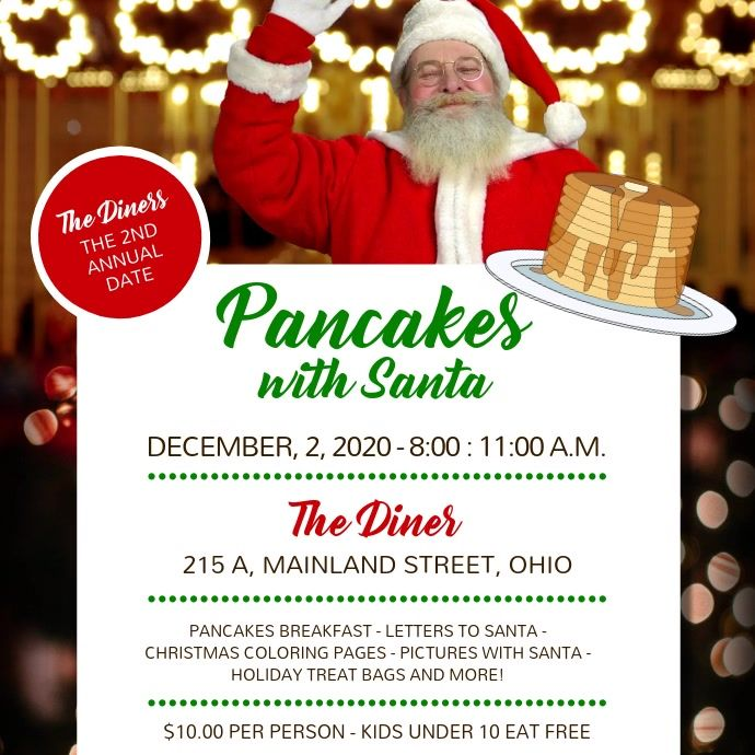 Breakfast Pancakes With Santa Square Video Christmas Fundraising Ideas Christmas Poster Poster Template