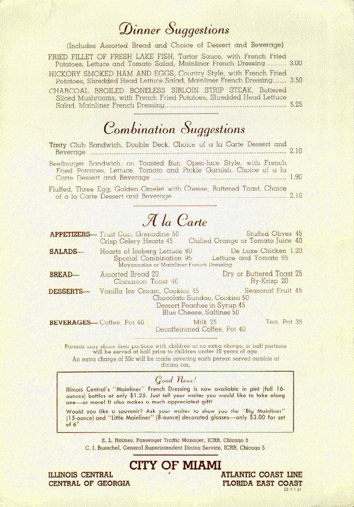 Early ICRR Menu Railroad Dining Car Waiters Pinterest Menu - french menu