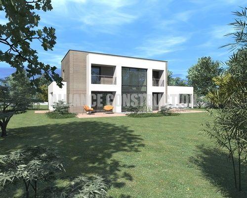 Façade arrière de maison d\u0027architecte du constructeur de maisons - modele maison a construire