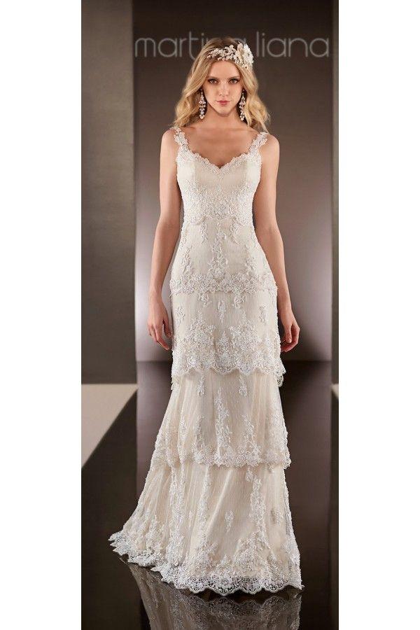 Vestidos de novia sencillos modernos con capas de encaje estilo ...