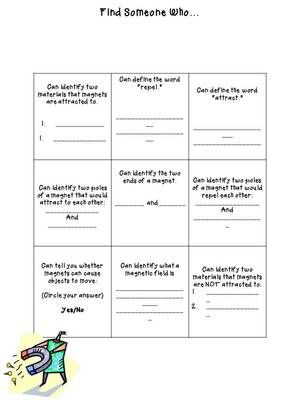 """Magnetism Review & Assessment from The 4th Grade Journey on TeachersNotebook.com -  (3 pages)  - """"Find Someone Who..."""" review activity plus assessment for magnetism"""