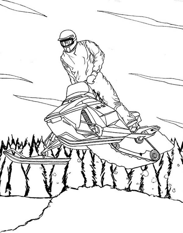 A Cool Winter Snowmobile On Action Coloring Page Jpg 600 765