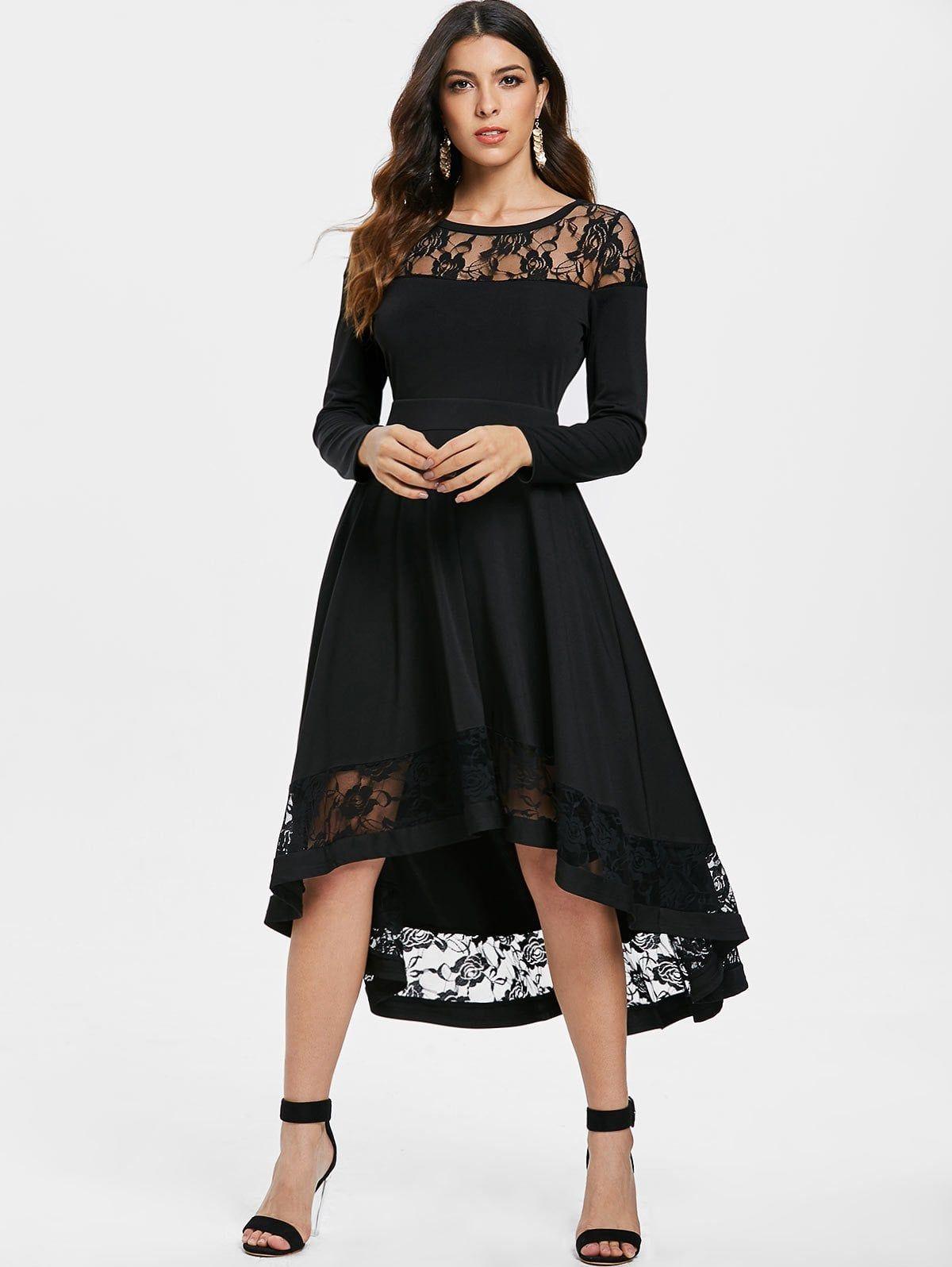 fb640c2b6760 emmarcon elegante abito lungo cerimonia da donna in pizzo vestito damigella  festa party orlo asimmetrico-Black-IT46-48 XL