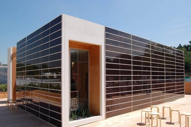 Onyx Solar building integrated photovoltaic ventilated facade and curtain walls.