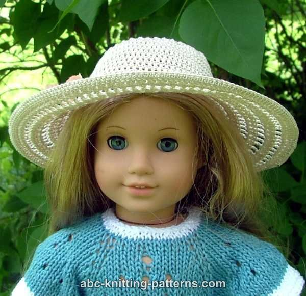 Abc Knitting Patterns American Girl Doll Summer Breeze Hat Ag