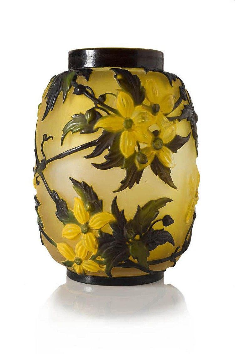 mile gall 1846 1904 glass clematis vase de forme cylindrique col ras en verre grav. Black Bedroom Furniture Sets. Home Design Ideas