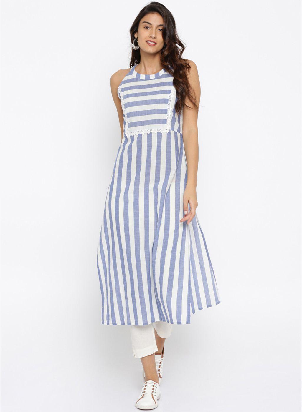 45496635e Blue Striped A Line Kurta  Blue  Striped  A Line  Kurta