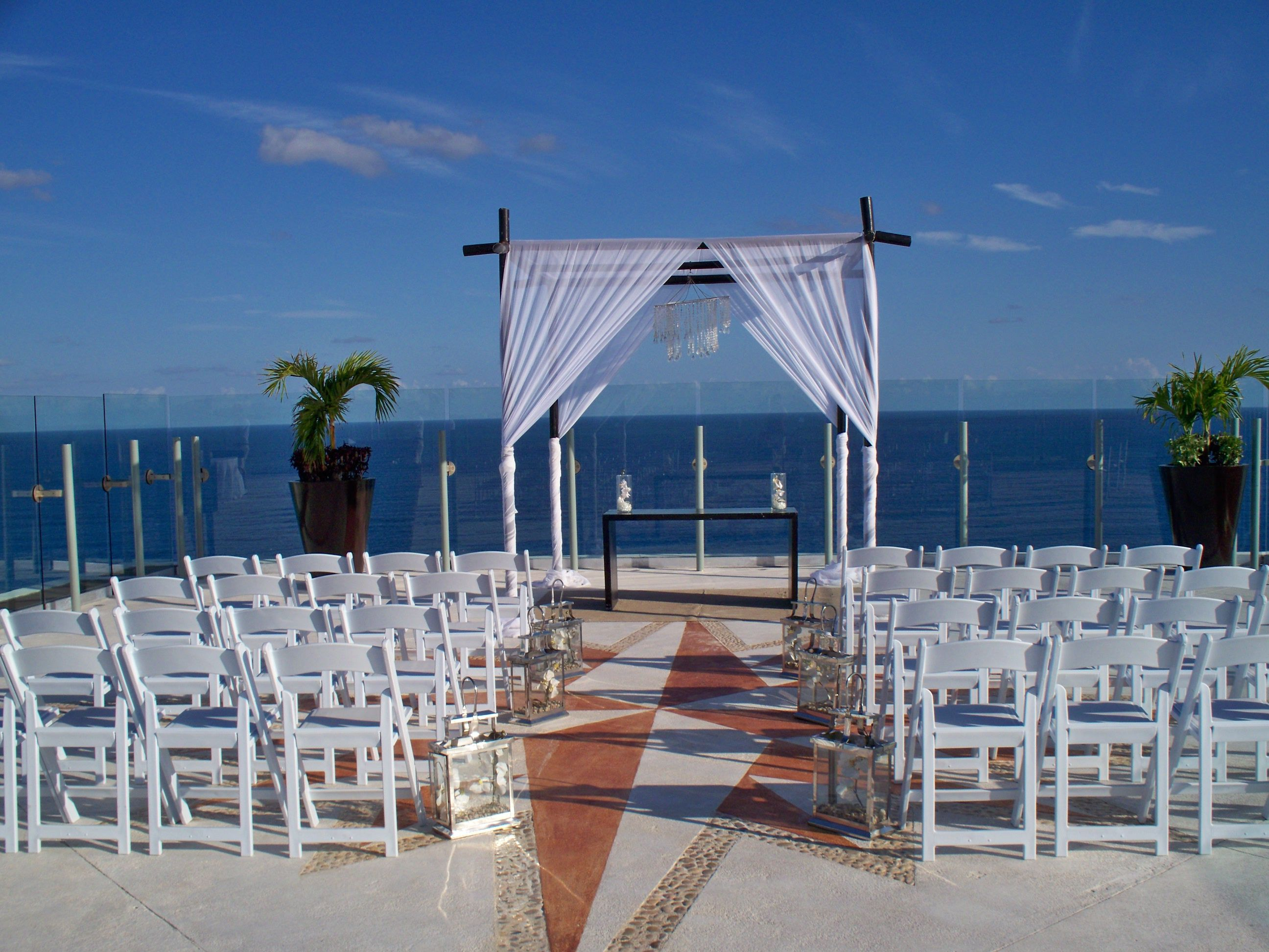 all inclusive beach wedding destinations%0A Beach Palace Sky Deck wedding setup  one of the best locations in Cancun  to get