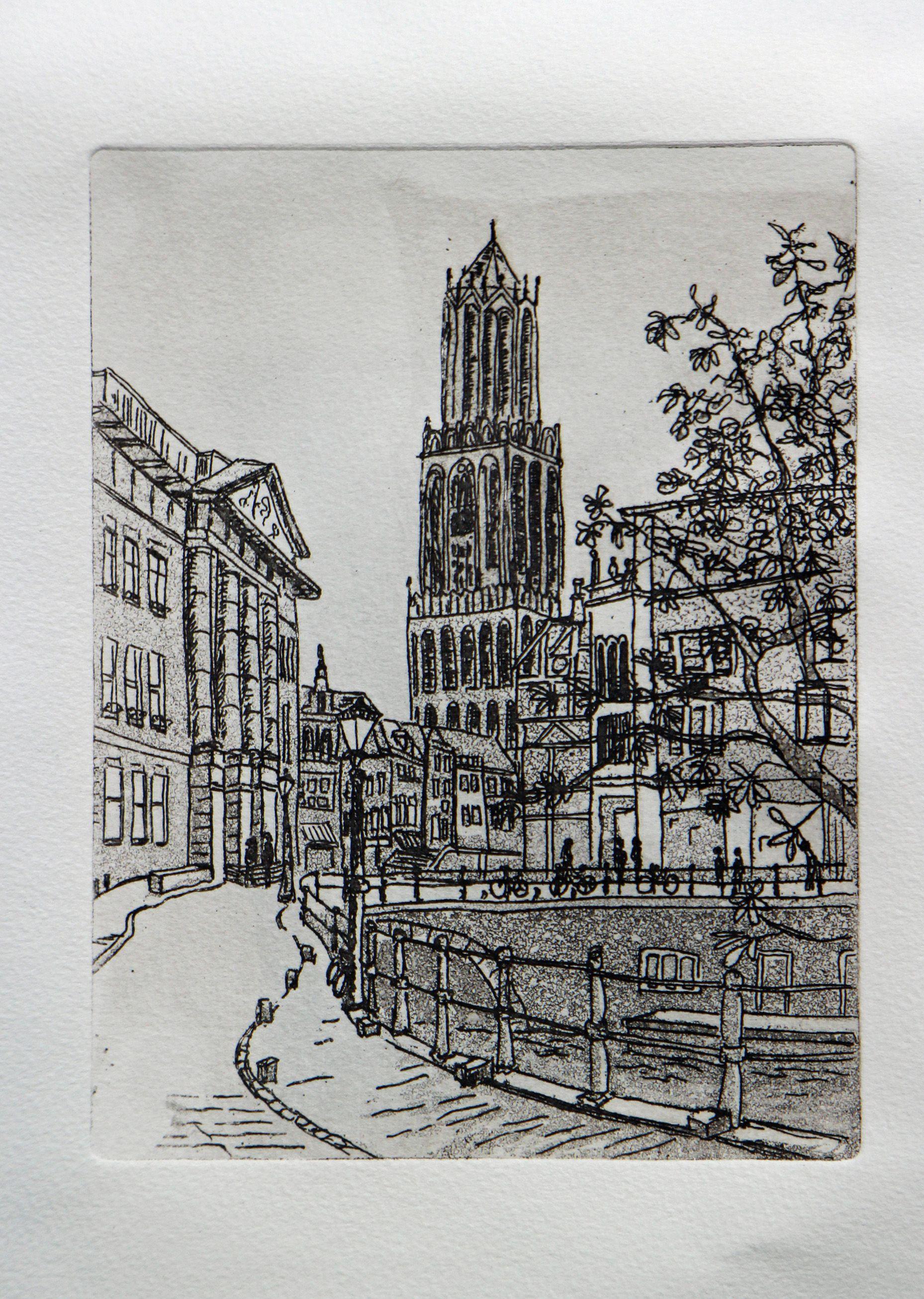 De Dom van Utrecht Ets by Alex Olzheim