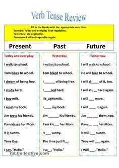 Verb Tense Review for Present Past FutureThis is a simple exercise to review the