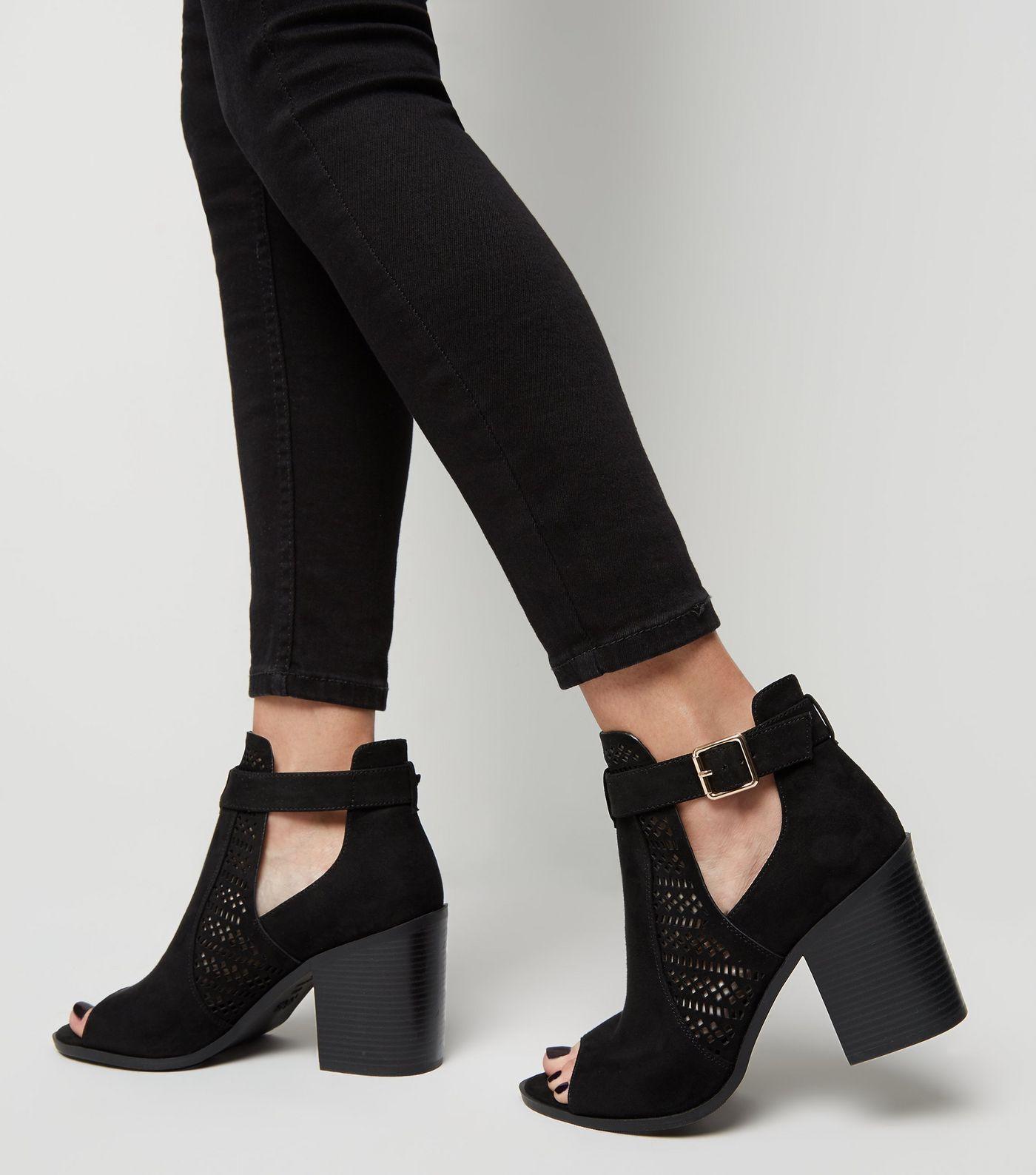 cbf025fbdfb Wide Fit Black Suedette Cut Out Block Heels in 2019   Обувь   Block ...