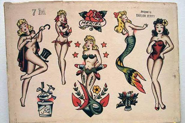 Pin By Guchinghuai On Art Sailor Jerry Tattoos Mermaid Tattoos Sailor Tattoos
