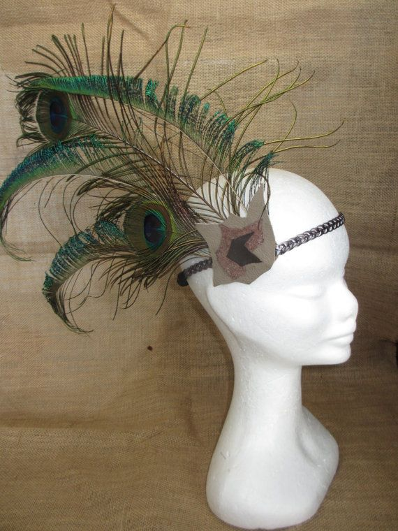 Peacock Tail Headwear by NoodgeDesigns on Etsy, $49.99